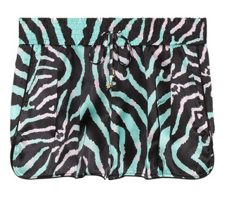 JUST CAVALLI Zebra-print silk shorts $335