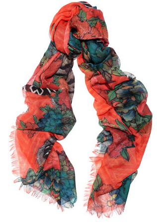 HORIYOSHI THE THIRD Botan Jungle printed silk and cashmere-blend scarf $470