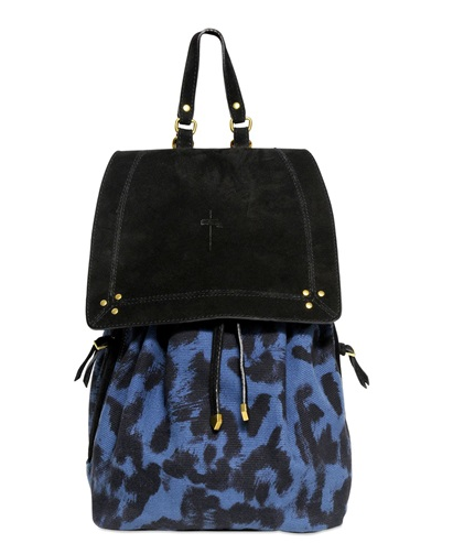 JEROME DREYFUSS Florent Leopard Printed Canvas Backpack $490
