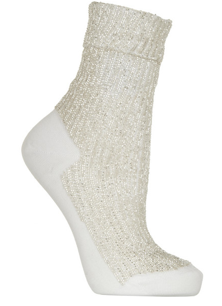 SAINT LAURENT Beaded cotton ankle socks $595