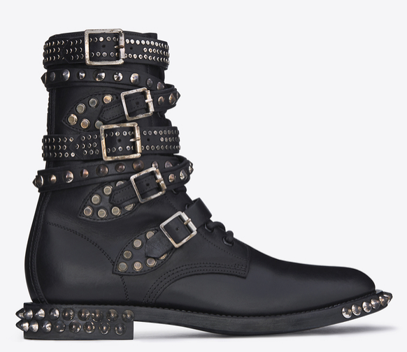 SAINT LAURENT Signature Rangers Studded Punk Sole Boots in Black Leather  $ 2,395.00