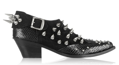 JUNYA WATANABE Studded Snake-Effect Leather and Suede Ankle Boots $1,585