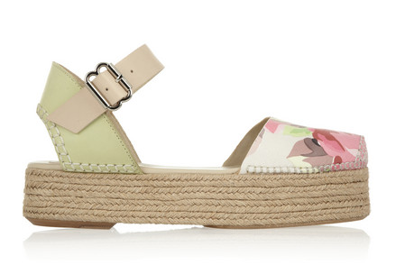 CARVEN Floral-Print Leather Espadrilles $450