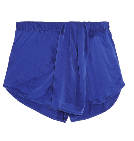 CLU Draped Washed-Silk Shorts $170