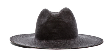 JANESSA LEONE Rita Straw Hat in Black $160