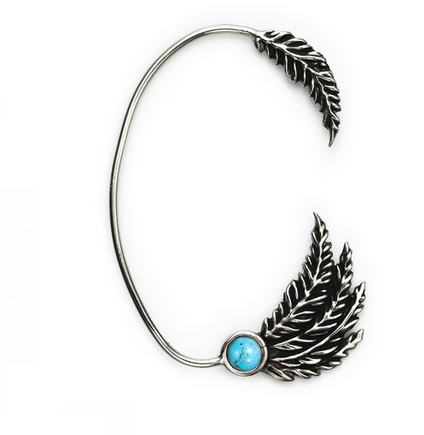 Pamela love Feather Ear Cuff with Turquoise $150
