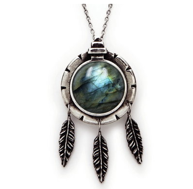 Pamela Love Dial Pendant with Feathers and Labradorite $350
