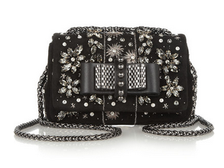 CHRISTIAN LOUBOUTIN Sweet Charity Mini embellished suede shoulder bag $1,595