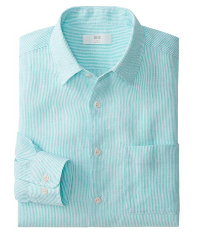 Uniqlo Men Premium Linen Stripe Long Sleeve Shirt $29.90