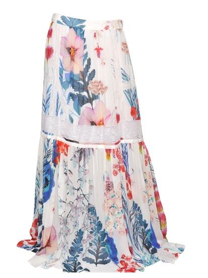 Roberto Cavalli Silk Georgette Skirt $1135