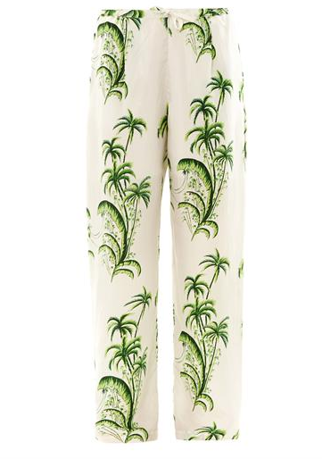 Palm Tree Silk Trousers $396