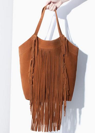 Zara Fringed Leather Shopper $129