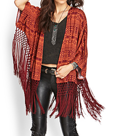 Forever 21 Knotted Tribal Print Kimono $29.80