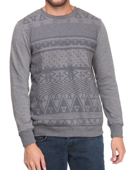 Asphalt Yacht Club - Men Grey Arcane Crew Fleece Sweatshirt $59