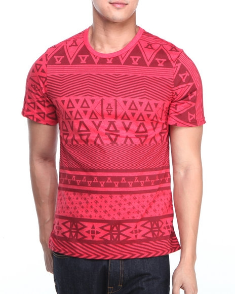 Asphalt Yacht Club - Men Red Allover Native Printed Tee $34