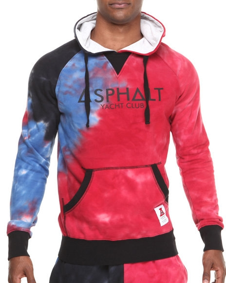 Asphalt Yacht Club - Men Blue Tie Dye Fleece Hoodie $79