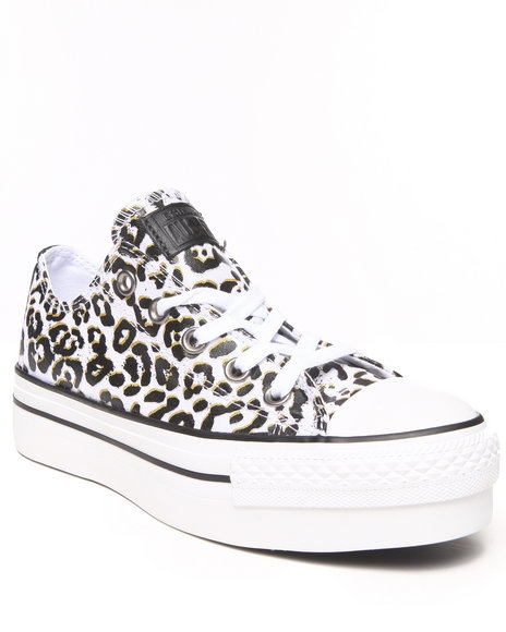 Converse - Women White Animal Print Chuck Taylor All Star Platform Sneakers $65