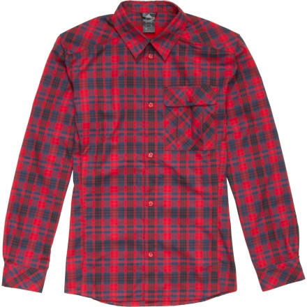 Adidas Outdoor Hiking Flannel Shirt - Long-Sleeve - Men's Light Scarlet/Hi Res Red/Sub Blue $55.96