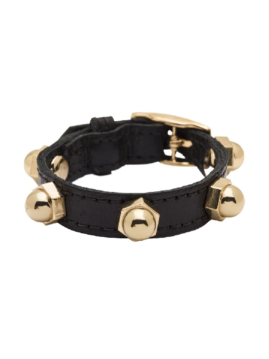 CC Skye Bolt Wrap Leather Bracelet - Black One Size $155.17