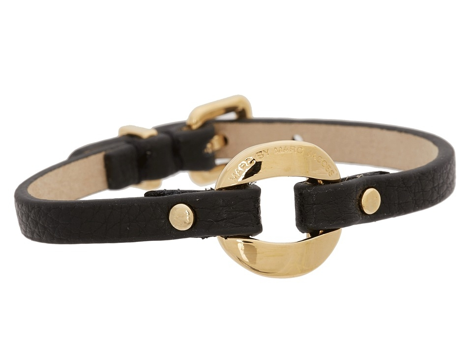 Marc by Marc Jacobs Link Leather Bracelet (Black) Bracelet $60