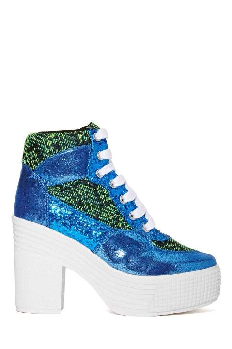 JC Play by Jeffrey Campbell AsIf Platform Boot - Blue/Green Lyndley Trends Sally Lyndley Fashion Stylist