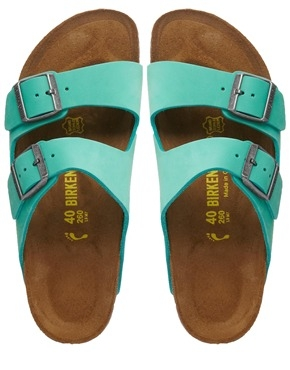 Birkenstock Arizona Leather Mint Green Flat Sandals Shop With Sally Sally Lyndley Fashion Stylist