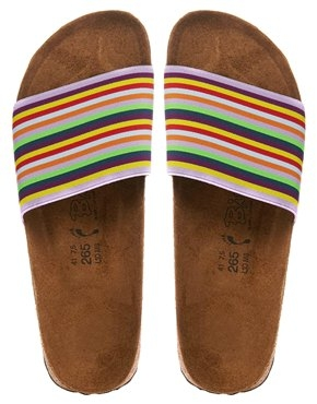 Birkies By Birkenstock Belau Rainbow Stripe Slider Sandals Shop With Sally Sally Lyndley Fashion Stylist