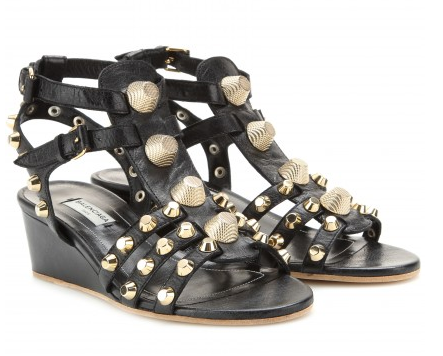 BALENCIAGA Studded leather wedge sandals Shop With Sally Sally Lyndley Fashion Stylist