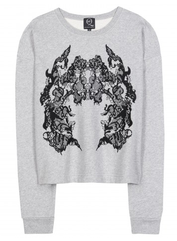 CQ ALEXANDER MCQUEEN Cropped embroidered jersey sweatshirt Shop With Sally Sally Lyndley Fashion Stylist
