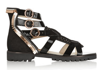 SOPHIA WEBSTER Marnee embellished suede and patent-leather sandals Shop With Sally Sally Lyndley Fashion Stylist