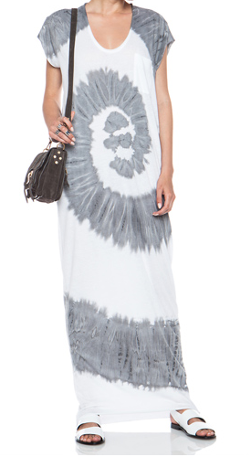 RAQUEL ALLEGRA Caftan Cotton-Blend Dress in Spiral Grey & White Shop With Sally Sally Lyndley Fashion Stylist