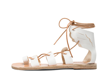 ANCIENT GREEK SANDALS Fteroti Calfskin Leather Sandals in White Shop With Sally Sally Lyndley Fashion Stylist