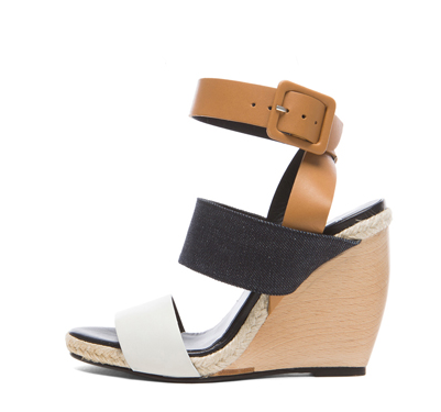 PIERRE HARDY Strap Calfskin Leather & Denim Wedge Sandals in Jeans & Brown Shop With Sally Sally Lyndley Fashion Stylist