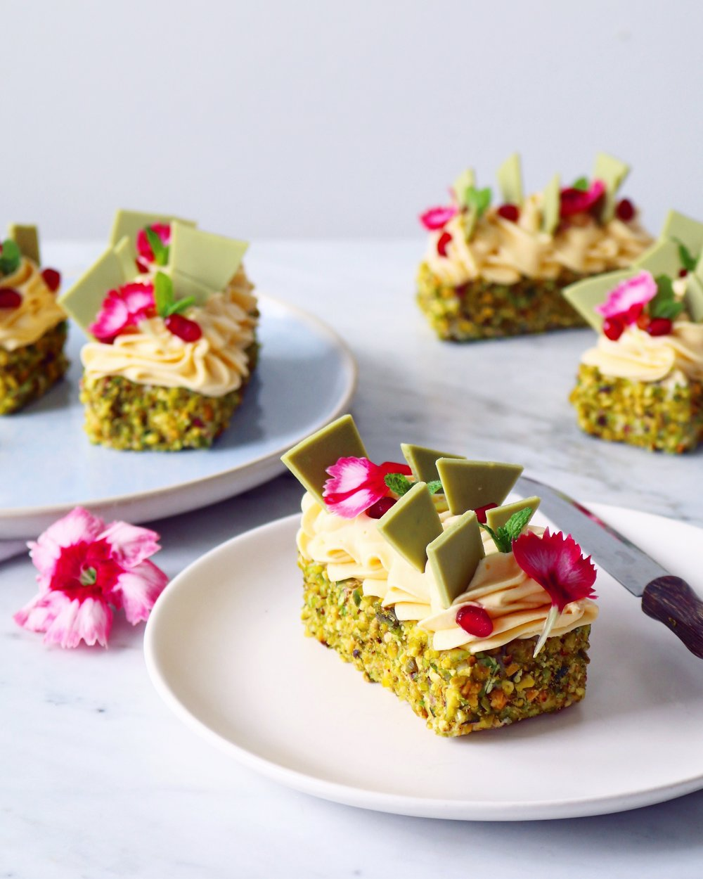 Pistachio, Raspberry, Lemon and Matcha Cakes — Melies kitchen