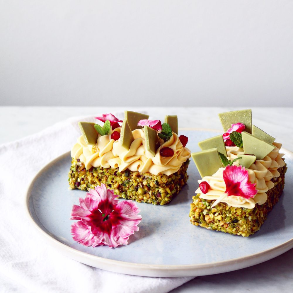 Raspberry Pistachio Topped Chocolate Cake