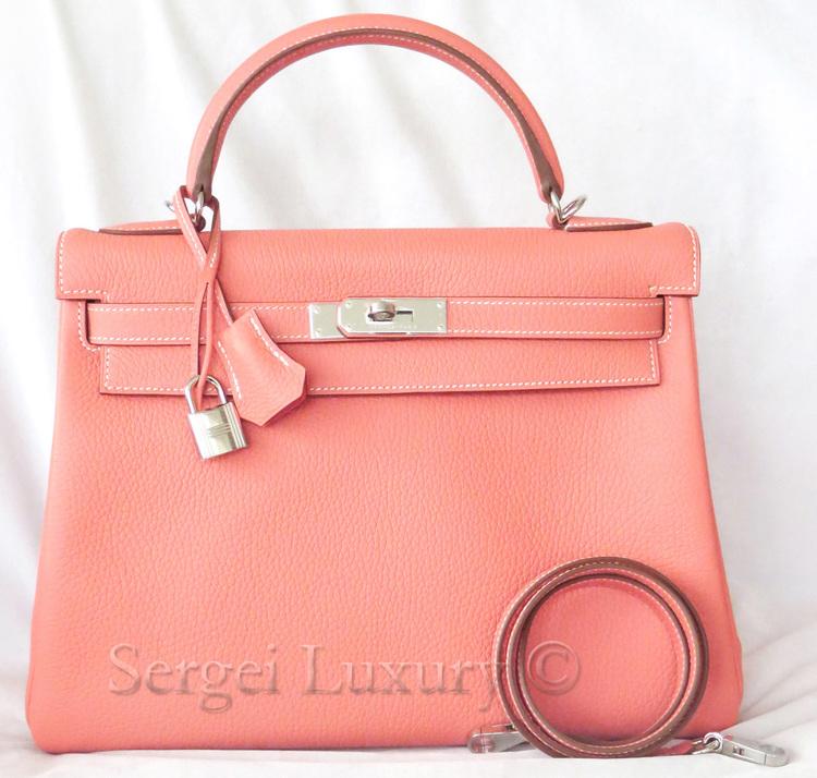 673e57d50c83 Sweet NEW Authentic HERMES Crevette Peach Coral Pink Kelly bag 32 cm PHW