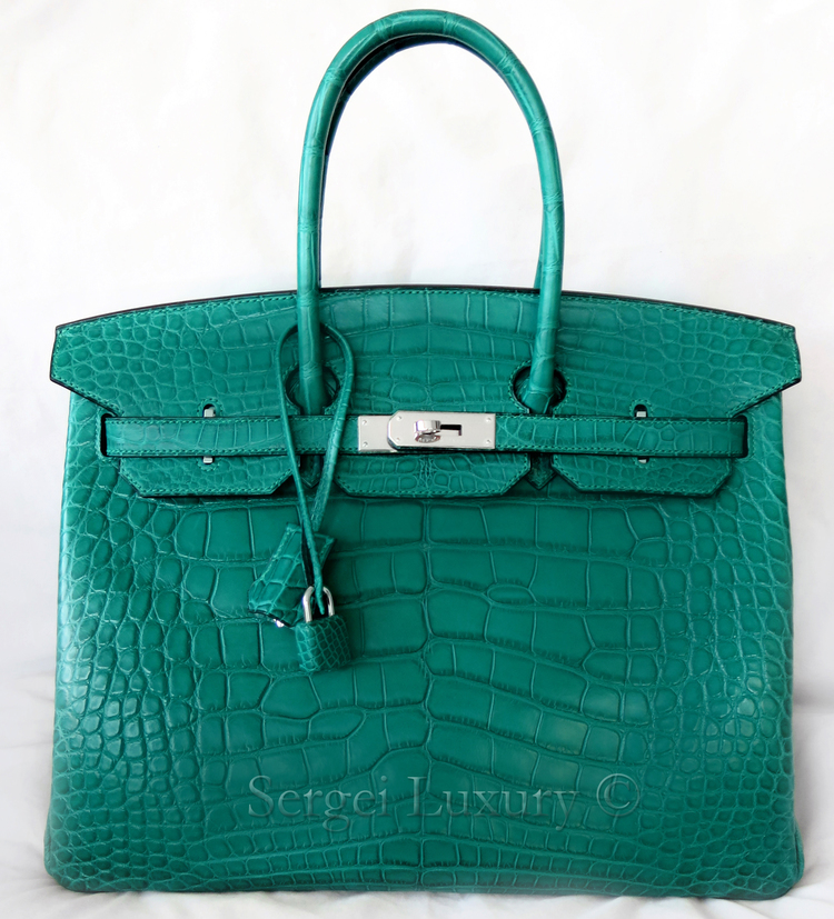 NEW Hermes Birkin 35 Malachite Green Emerald Matte Crocodile ... 2db5a88c6e