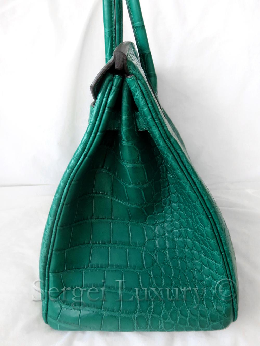 383daef557d4 NEW Hermes Birkin 35 Malachite Green Emerald Matte Crocodile Alligator Tote  bag — Sergei Luxury