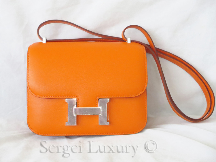 639d62cbed80 NEW Authentic HERMES Orange Constance Bag Mini 18 cm Swift PHW Silver