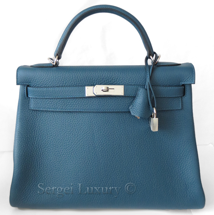 authentic hermes bag - Chic NEW Authentic HERMES Blue Tempete Amazone Canvas Strap Kelly ...