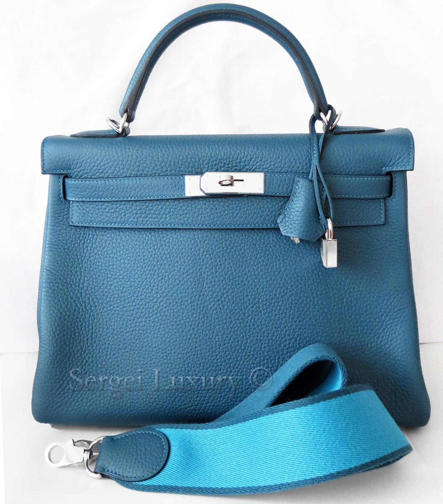 02c70ec4fbc2 Chic NEW Authentic HERMES Blue Tempete Amazone Canvas Strap Kelly bag 32 cm  PHW — Sergei Luxury