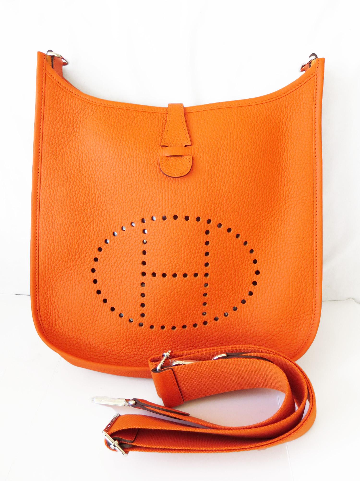 9c0521c489e6 2014 New AUTHENTIC Hermes Evelyne Feu Orange PM Cross body Shoulder bag H  logo