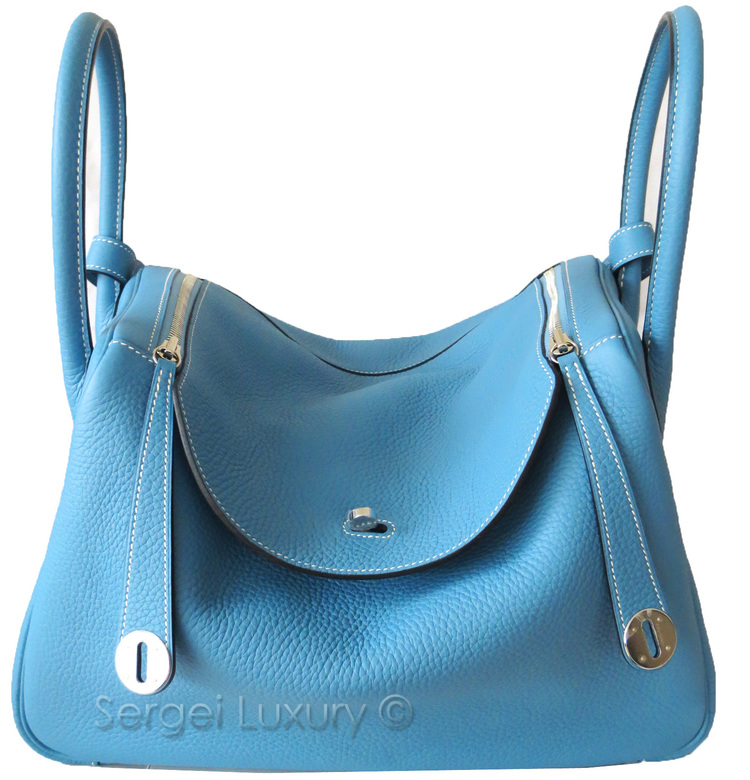 12a81a91a736 Authentic NEW Hermes BLUE JEAN 34 cm Lindy bag PHW Silver Clemence
