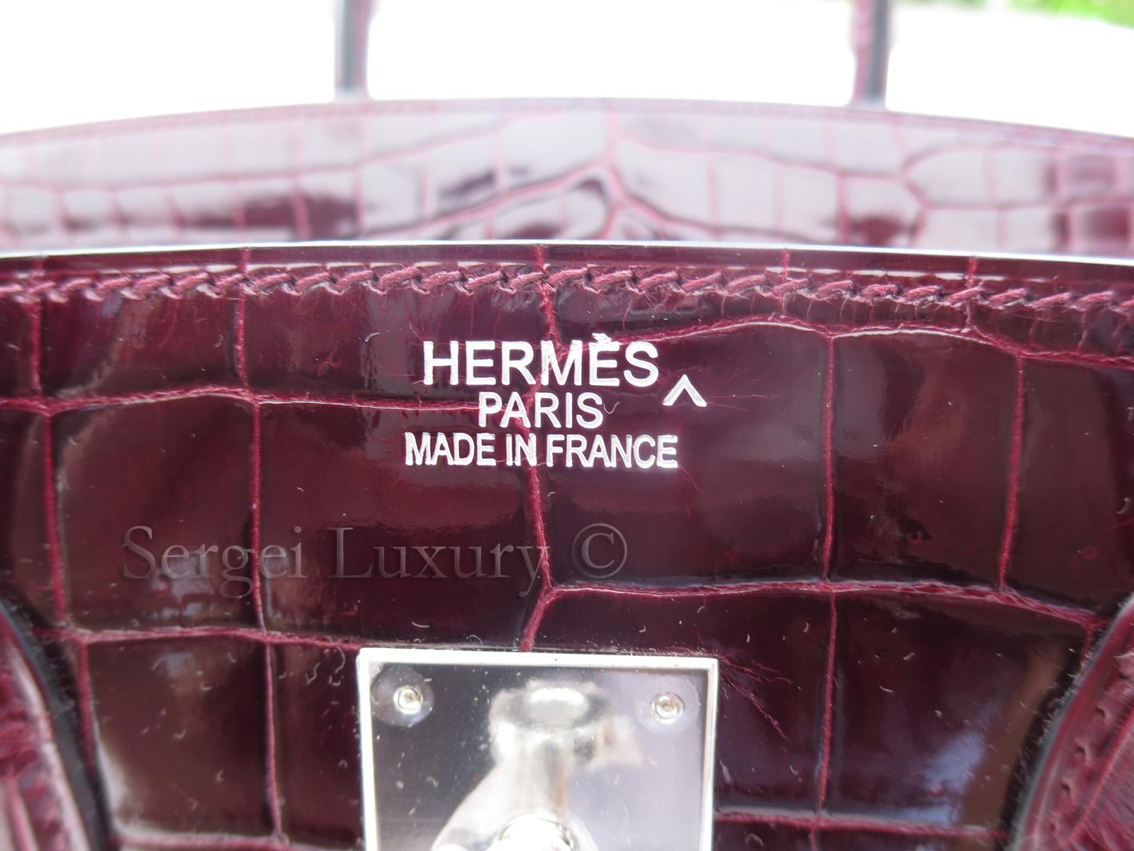 a9a22637580 DIVA! Authentic NEW Hermes 35 cm SHINY Porosus Croc Bordeaux Wine ...