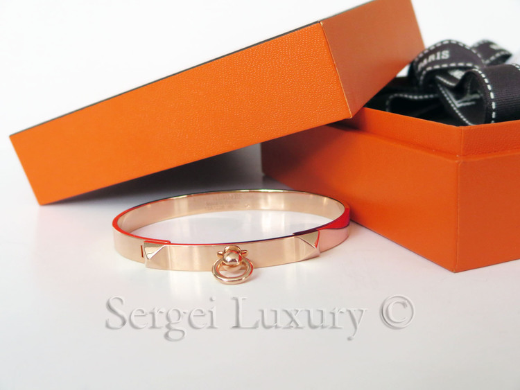 612170abe5f 18K!! New Authentic HERMES Collier de Chien CDC PM ROSE Gold Bangle ...