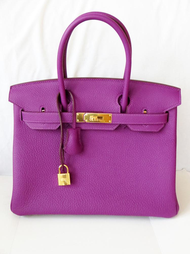 5094908c9dea 2014 LOVELY! NEW Hermes Birkin 30 Anemone Purple Bag Togo Gold ...