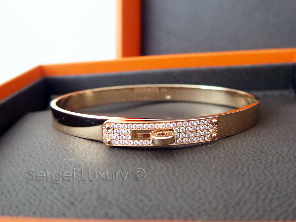 LOVE! New Authentic HERMES Kelly ROSE Gold Bangle Bracelet Half Diamond PM  SH \u2014 Sergei Luxury