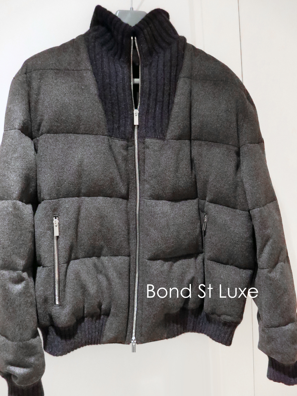 eda75b514741 Luxurious NEW Hermes Mens Waterproof Cashmere Bubble Jacket Grey Black 56  L XL — Sergei Luxury