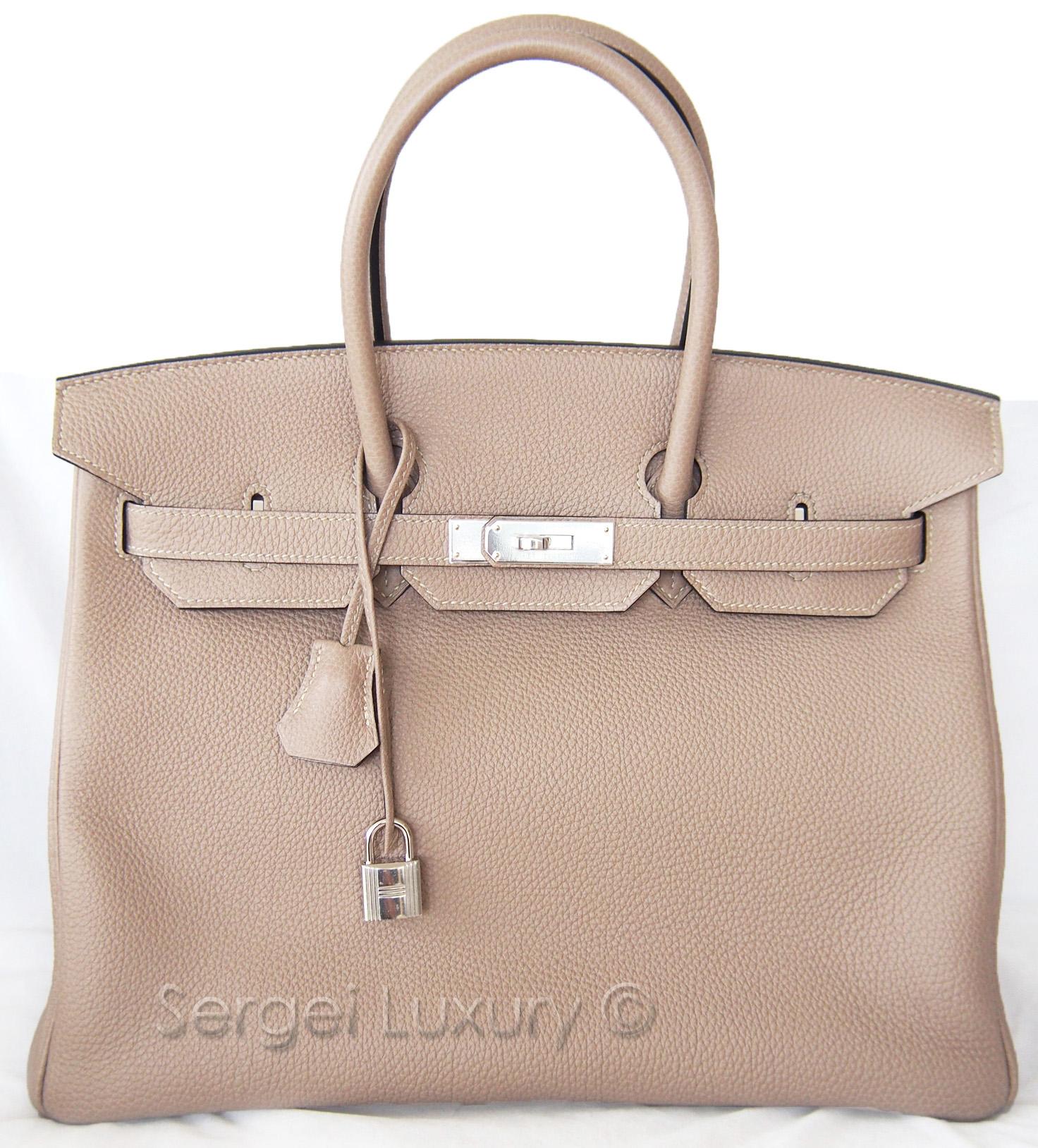 ea2efb8253 Elegant!! NEW Hermes Birkin 35 Gris Tourterelle Dove Grey Togo Tote ...