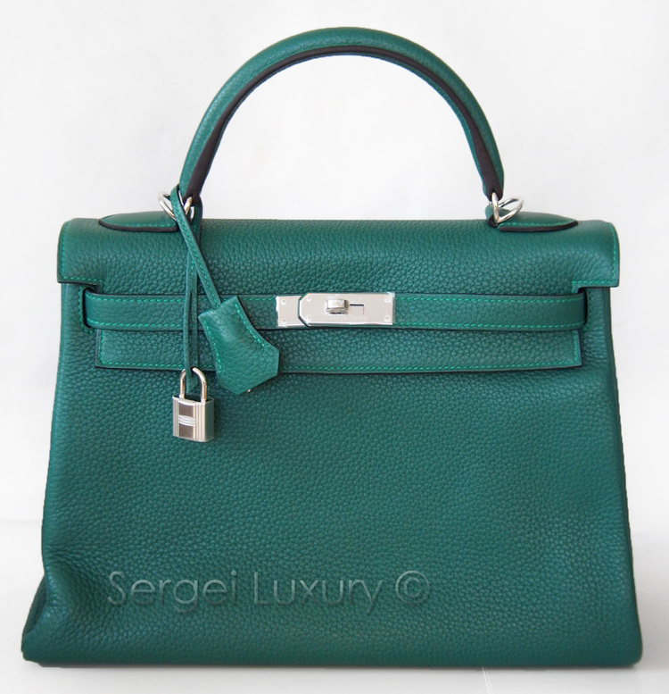 9021604ce526 Regal NEW Authentic HERMES Malachite Green Kelly bag 32 cm PHW Togo